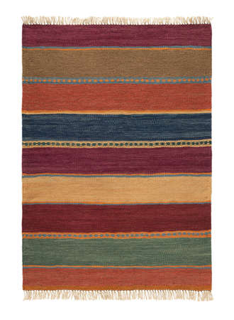 Traditional handmade colorful rug, isolated.
