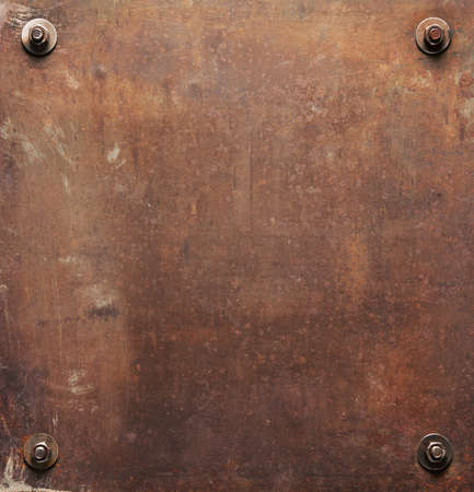 Rusty metal plate texture with bolts. 版權商用圖片 - 93567527