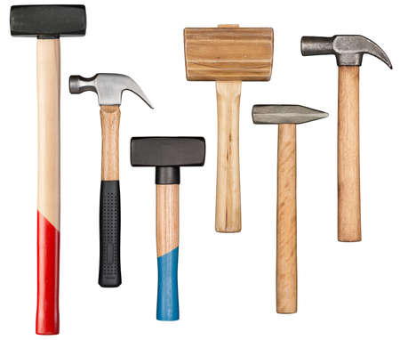 Various hammers and mallet isolated on white Stock Photo