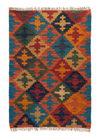 Traditional handmade colorful rug, isolated. 版權商用圖片 - 93567683