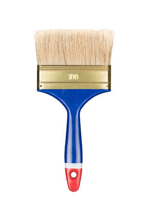 Blue painting brush isolated on white 版權商用圖片