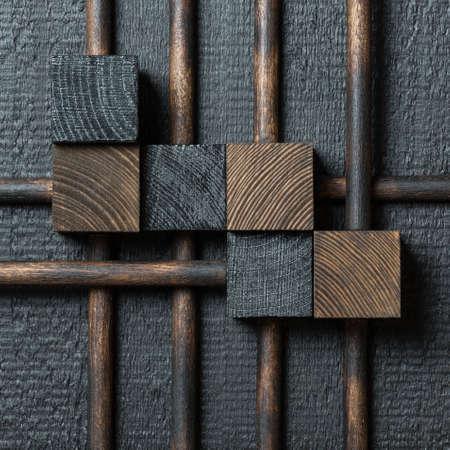 Abstract dark wood block collage background. 版權商用圖片 - 93595548