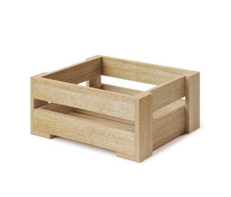 Empty yellowish wooden box. Made of plywood. Stock Photo