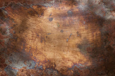 Aged copper plate texture, old worn metal background. 版權商用圖片 - 93736439