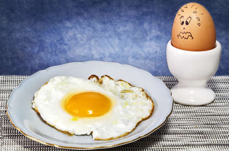 disappointed egg  observes his friend cooked photo
