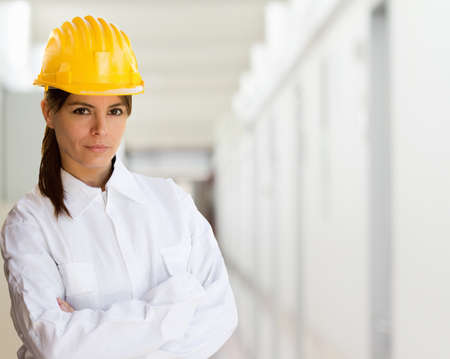 female worker with factory background, Stock Photo - 16382862
