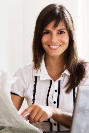 brunette girl fins job offer photo