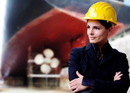 drydock: female naval engineer with dry-dock background