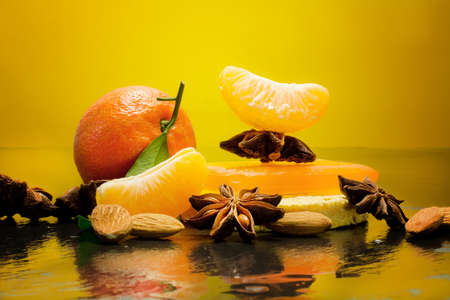 winter spa with winter ingredients, clementine and almond, photo