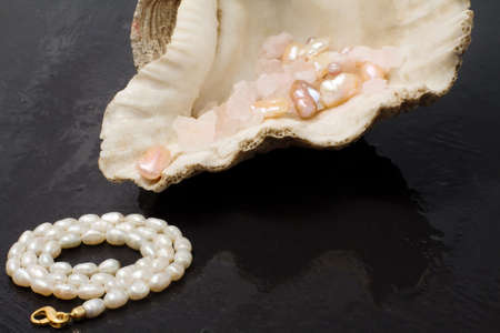 pearl jewels and oyster seashell over ardesia photo