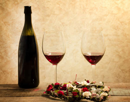 red wine glasses with romantic mood photo