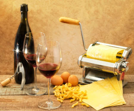 italian style with red wine and egg pasta photo