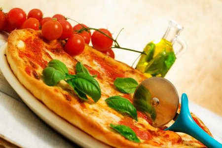 pizza margherita with basil photo