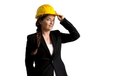 engineer's: female engineer with safety helmet over white