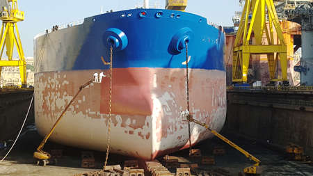 drydock: ship hull at drydock
