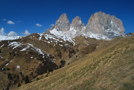 sella: Dramatic mountain peaks with deep-blue sky in the famous Passo di Sella mountain pass in the western Italian Dolomite Stock Photo