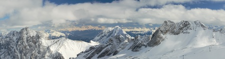 Wide panoramic view of the German and Austrian Alps from the Zugspitze Glacier, Germany photo
