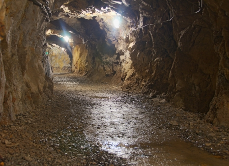 lighted: A lighted underground tunnel in a nickel mine