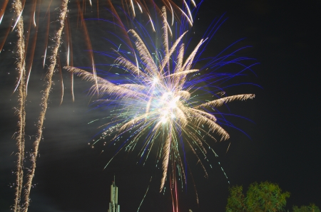 Fireworks in yellow and blue on a black background photo