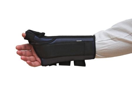 Wrist and Thumb Brace stabilizer splint for wrist fracture or carpel tunnel syndrome Isolated on white  photo