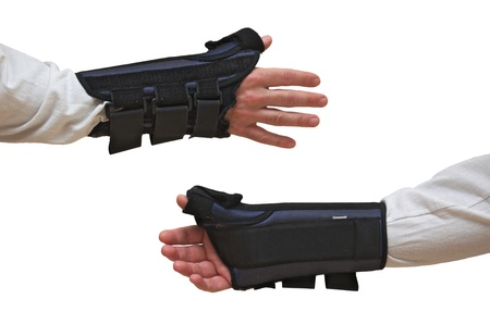 Wrist and Thumb Brace   stabilizer   splint for wrist fracture or carpel tunnel syndrome   Isolated on white Stock Photo - 21089459