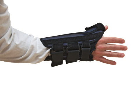 Wrist and Thumb Brace   stabilizer   splint for wrist fracture or carpel tunnel syndrome   Isolated on white Stock Photo - 21089460