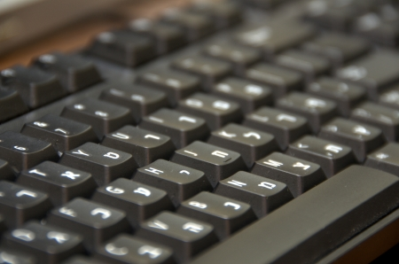 Hebrew English dual language black computer keyboard photo
