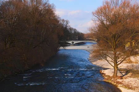 The Isar River, Munich in the spring photo