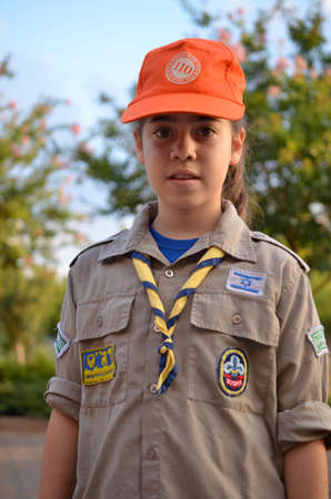 An Israel Girl Scout - Zofim - on the way to summer camp photo