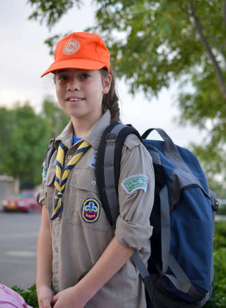 An Israel Girl Scout on the way to summer camp photo
