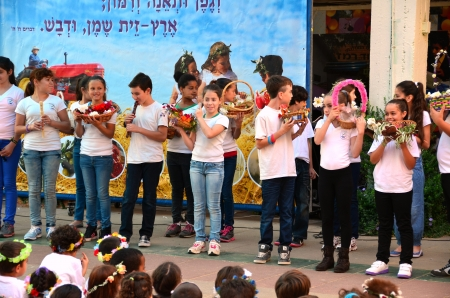 Israeli secular school children celebrating the Jewish holiday of Shavuot (Feast of Weeks) commemorating the harvest, the Day of the First Fruits, and the day the Torah was traditionally revealed by God to the Israelites Zdjęcie Seryjne - 21091989