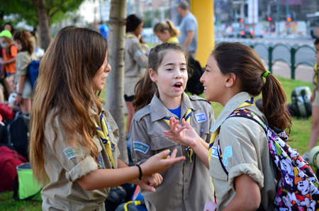 Israel Scouts - Zofim - in a lively discussion getting ready to leave for summer camp.