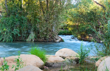 galilee: Jordan River - Jordan River at the Hazbani, one of the streams feeding the main Jordan in the North of Israel
