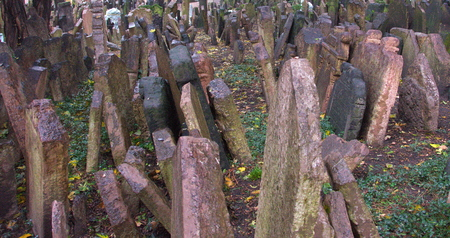 judah: The Old Jewish Cemetery in Prague, Czech Republic where many notable Jewish leaders are buried including Rabbi Judah Loew, The Maharal Stock Photo