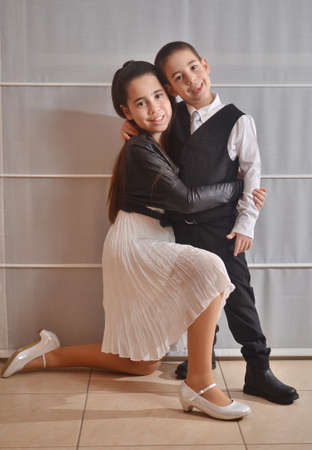 bar mitzvah: Secular 12-year-old Israeli teenager celebrating her Bat Mitzvah with her younger brother