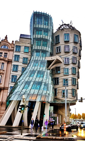PRAGUE, CZECH REPUBLIC - OCT 12, 2013: The Nationale-Nederlanden building in Prague, Czech Republic known as The Dancing House or Fred and Ginger