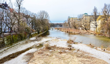 foiliage: The Isar River, Munich in the spring Stock Photo