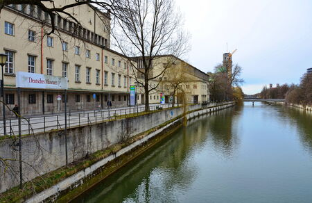 MUNICH, GERMANY - MARCH 20, 2013: The Isar River and Deutsches Museum (Science Museum), Munich, Germany