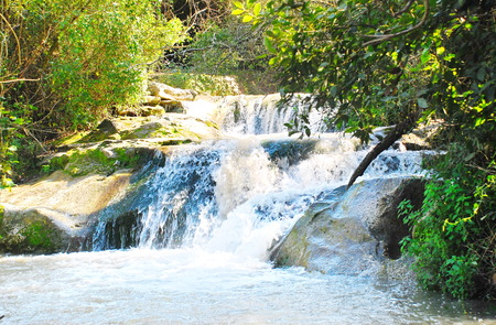 Waterfall on the Jordan River - A waterfall on the Jordan River in the Galilee in Northern Israel