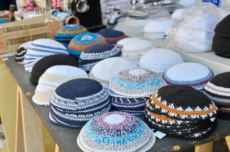yamaka: Yarmulkes or Yamakas sold in preparation for Passover in Jaffa Flea Market, Tel Aviv, Israel Stock Photo