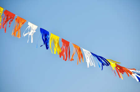 yom: Colorful flags hanging proudly for Israels Independence Day (Yom Haatzmaut) Stock Photo