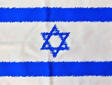 Painted Israel flag in white and blue showing the Star of David hanging proudly for Israels Independence Day (Yom Haatzmaut) photo