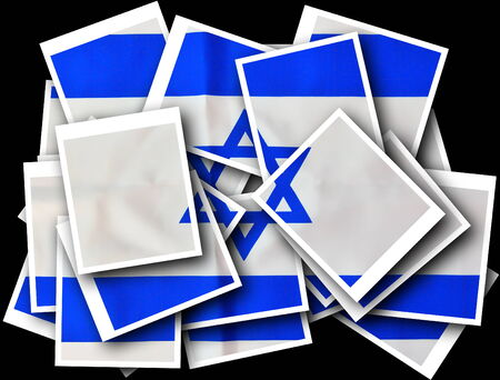 jewish ethnicity: Polaroid Collage of Israel flag in white and blue showing the Star of David Stock Photo
