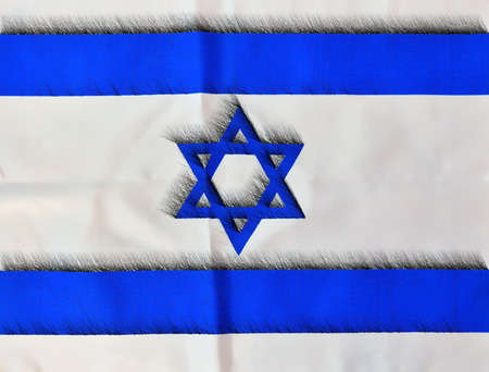 yom: Penciled illustration of Israel flag in white and blue showing the Star of David for Israels Independence Day (Yom Haatzmaut) Stock Photo