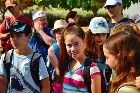 jewish: HADERA, ISRAEL - MAY 30, 2014: Israeli gifted school kids on a field trip to Hedera Water Park and stream, Israel Editorial