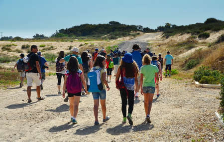 HADERA, ISRAEL - MAY 30, 2014: Israeli gifted school kids on a field trip to Hedera Water Park and stream, Israel Editorial