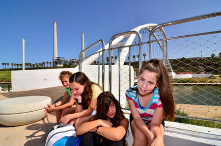 gifted: HADERA, ISRAEL - MAY 30, 2014: Israeli gifted school kids on a field trip to Hedera Water Park and stream, Israel Editorial