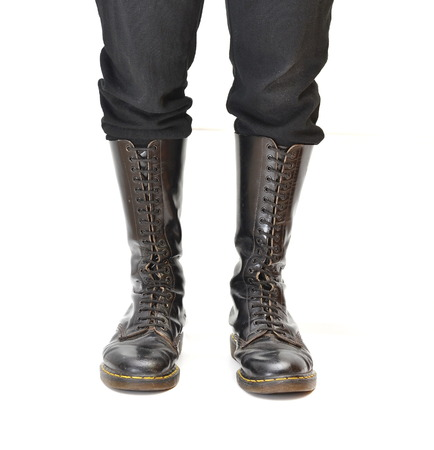 men s boot: A pair of old and rugged men Stock Photo