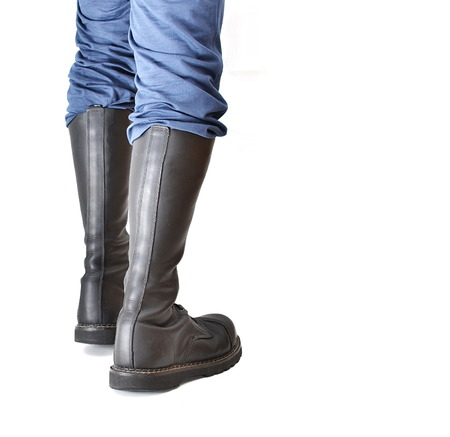A back view of mensunisex knee-high black steel-toe lace-up combatranger boots in matte leather photo