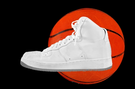 A high-top classic white leather basketball shoe sneaker with a basketball isolated on black
